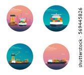 sea transportation logistic.... | Shutterstock .eps vector #569445826