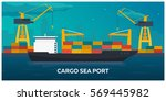 sea transportation logistic.... | Shutterstock .eps vector #569445982