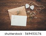 empty greeting card and flowers ... | Shutterstock . vector #569453176