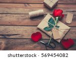 Stock photo valentines day background vintage envelope with red rose romantic letter love concept flay lay 569454082
