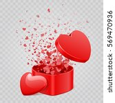 gift box and hearts confetti... | Shutterstock .eps vector #569470936