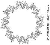 elegant round frame with... | Shutterstock . vector #569475172