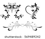 Set of black and white floral ornament with hearts for design. Tattoo floral ornament.