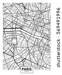 vector poster map city paris | Shutterstock .eps vector #569491996