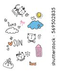 cutie cat pattern with... | Shutterstock .eps vector #569502835