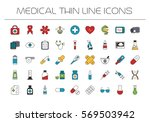 medical icons  line style.... | Shutterstock .eps vector #569503942
