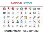 medical icons  line style.... | Shutterstock .eps vector #569504002