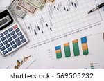 forex trading with dollar bills. | Shutterstock . vector #569505232