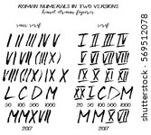 set of roman numerals in hand... | Shutterstock .eps vector #569512078