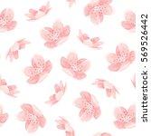 pink cherry sakura japanese... | Shutterstock .eps vector #569526442