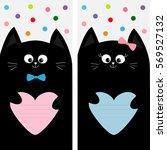 black cat kitty family holding...   Shutterstock .eps vector #569527132
