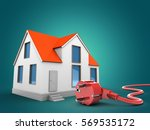 3d illustration of house over... | Shutterstock . vector #569535172