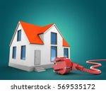 3d illustration of house over... | Shutterstock . vector #569535172
