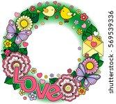 rounder frame made of flowers ... | Shutterstock .eps vector #569539336
