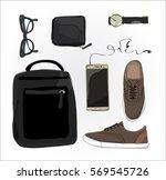 set of personal belongings of... | Shutterstock .eps vector #569545726