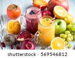 berry smoothie  healthy juicy... | Shutterstock . vector #569546812