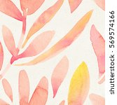 seamless watercolor floral... | Shutterstock . vector #569574166