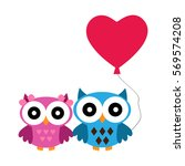 owl boy and girl with heart air ... | Shutterstock .eps vector #569574208