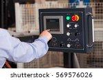 operator hands on lcd screen of ... | Shutterstock . vector #569576026