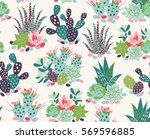 vector seamless pattern with... | Shutterstock .eps vector #569596885