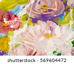 abstract flowers hand painted... | Shutterstock . vector #569604472