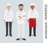 chef and two cook in uniform... | Shutterstock .eps vector #569605522