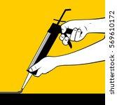 man hand using sealant gun | Shutterstock .eps vector #569610172