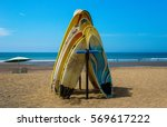 surf lessons and board rentals. ... | Shutterstock . vector #569617222