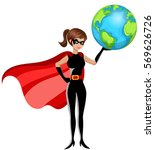 superhero woman holding earth... | Shutterstock .eps vector #569626726