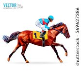 jockey on horse. champion.... | Shutterstock .eps vector #569627386