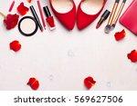 beauty cosmetic white... | Shutterstock . vector #569627506