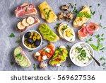 assorted healthy sandwiches set ... | Shutterstock . vector #569627536