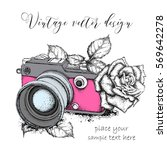 hand drawn vintage camera with... | Shutterstock .eps vector #569642278