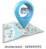 property search. 3d render of a ... | Shutterstock . vector #569649292