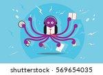 cute octopus character... | Shutterstock .eps vector #569654035