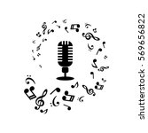 music notes and microphone on... | Shutterstock .eps vector #569656822