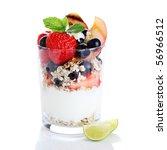 muesli with yogurt and fresh... | Shutterstock . vector #56966512