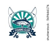 fishing club icon or emblem.... | Shutterstock .eps vector #569666176