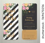 modern wedding invitation black ... | Shutterstock .eps vector #569670256