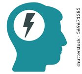 brain electric shock glyph icon....   Shutterstock . vector #569671285
