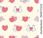 valentines day seamless pattern.... | Shutterstock .eps vector #569672122