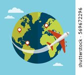 traveling around the world by... | Shutterstock .eps vector #569672296