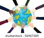 business hands on globe   vector | Shutterstock .eps vector #56967385