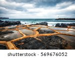 gueomri stone salt farm view... | Shutterstock . vector #569676052
