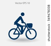 flat cyclist icon | Shutterstock .eps vector #569678338