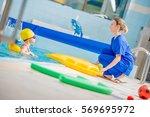 swimming pool rehabilitation...   Shutterstock . vector #569695972
