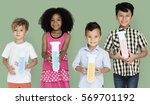 little children holding test... | Shutterstock . vector #569701192