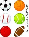 assorted sport balls | Shutterstock .eps vector #56970697