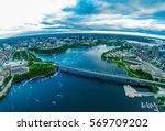 bridge over water aerial... | Shutterstock . vector #569709202