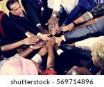 diverse people deal teamwork... | Shutterstock . vector #569714896
